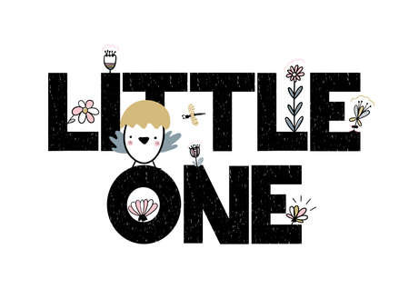 Card with lettering little one vector illustration isolated on white background with flowers and newborn nestling. Illustration