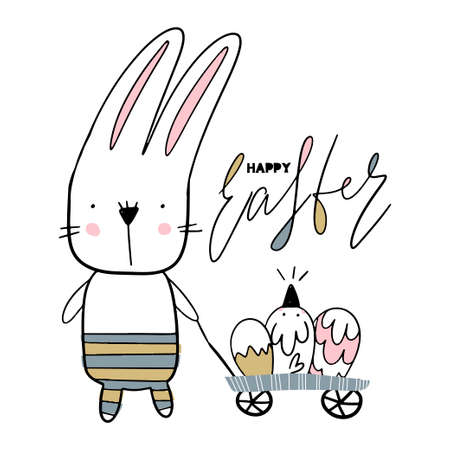 Card with calligraphy lettering Happy Easter with bunny and nestling vector illustration