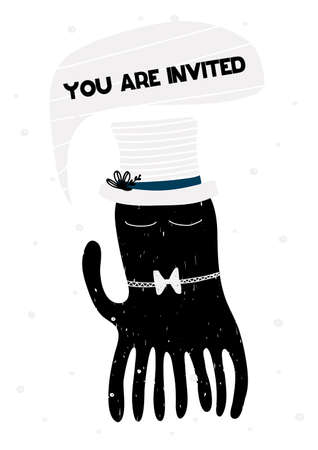 Invitation card with lettering you are invited. Vector. Scandinavian style.