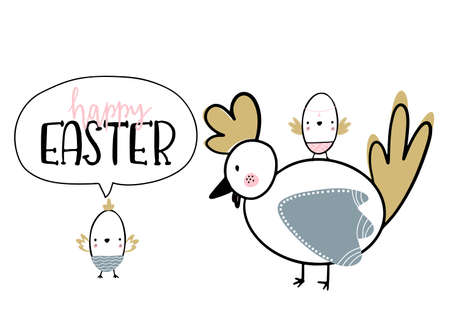 Card with calligraphy lettering of happy Easter and nestlings vector illustration 矢量图像