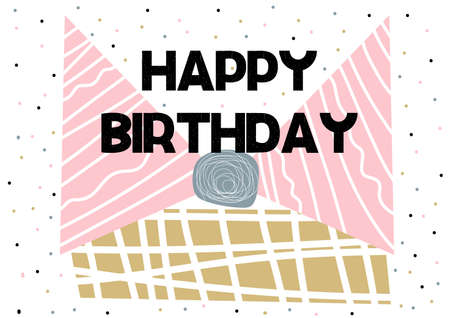 Happy Birthday on white background. Typography design. Greetings card. Vector 矢量图像