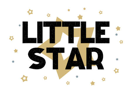 Lettering phrase Little star with lightning and stars in the white background.