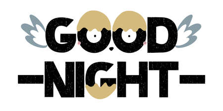 Good Night lettering text with wings. Vector