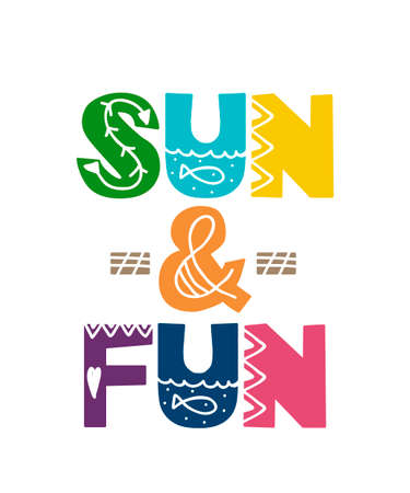 Card with cartoon lettering sun and fun. Vector illustration 矢量图像