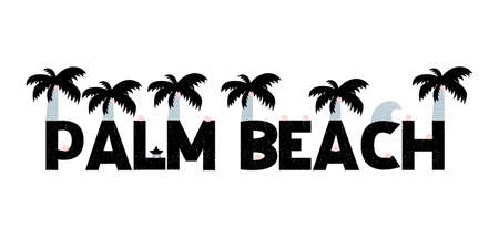 Banner with lettering palm beach in scandinavian style. Vector illustration