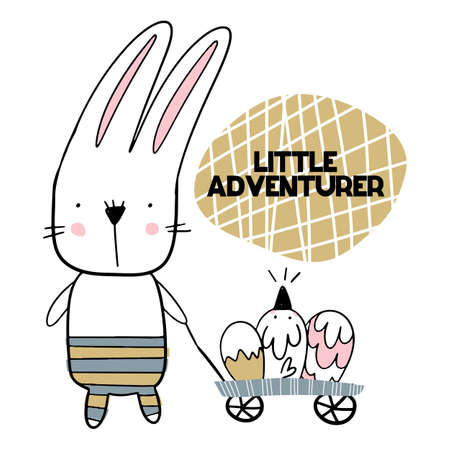 Card with lettering little aventurer with cute bunny with carriage of eggs. Vector illustration 矢量图像