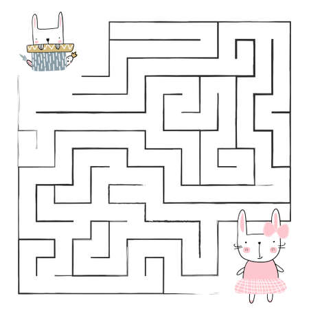 Cartoon Vector Illustration of Education Paths or Maze Game for Preschool Children with Children and Present. 矢量图像