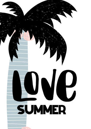 Card with calligraphy lettering love summer with palm in scandinavian style. Vector illustration
