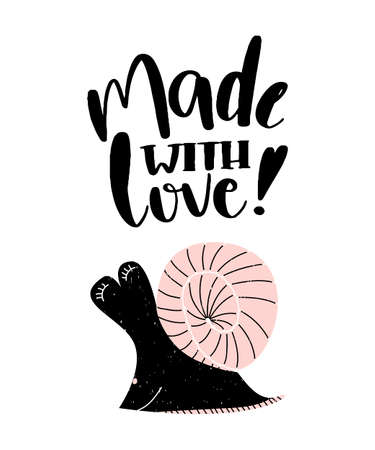 Card with calligraphy lettering made with love with snail in scandinavian style. Vector illustration 矢量图像