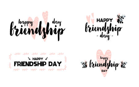 Logos with calligraphy lettering Happy friendship day with hearts in scandinavian style. Vector illustration