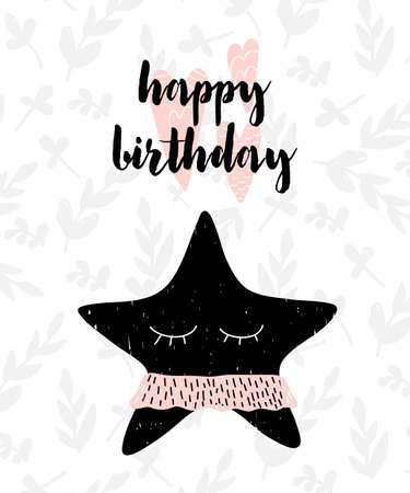 Card with calligraphy lettering happy birthday and starfish. Vector illustration in scandinavian style isolated on pettern background.