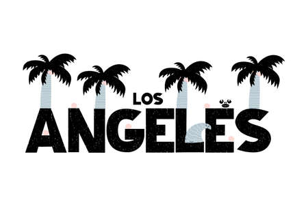 Banner with lettering los angeles in scandinavian style. Vector illustration with decorative palms isolated on white background. Can be used as card, poster, banner, flyer, label, t-shirt print. Illustration