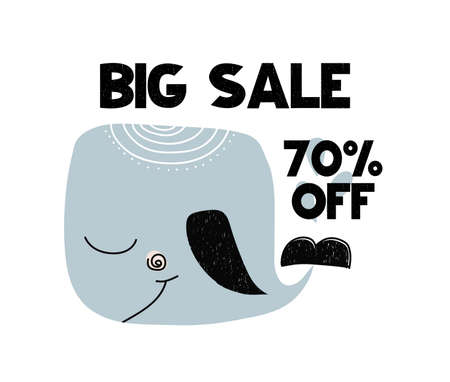 Advert card with lettering big sale 70 off with whale in scandinavian style. Vector illustration isolated on white background. Can be used as advert card, coupon, poster, banner, flyer, brochure