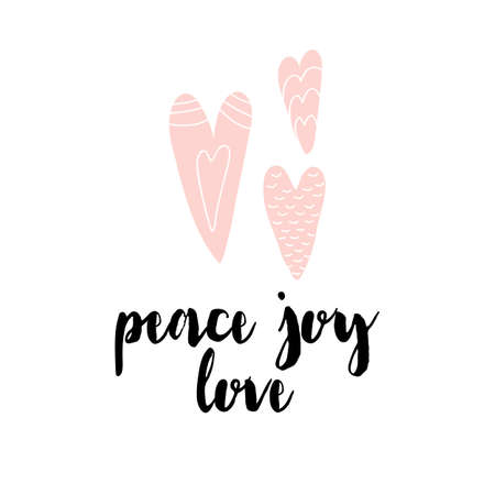 Card with calligraphy lettering peace joy love. Vector illustration