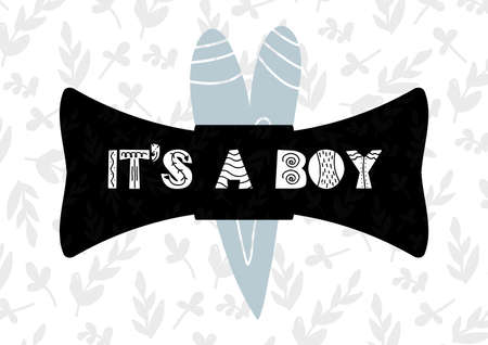 Birthday postcard for dad or mom with lettering its a boy. Vector illustration in Scandinavian style with heart and baby. Can be used as card, postcard, poster, banner. 矢量图像