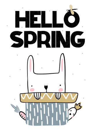 Card with lettering hello spring with cute bunny and parrot. Vector illustartion in handwritten style Vettoriali