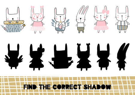 Shadow matching game for children. Find the correct shadow kids activity for preschool and school age. Vector illustration 矢量图像