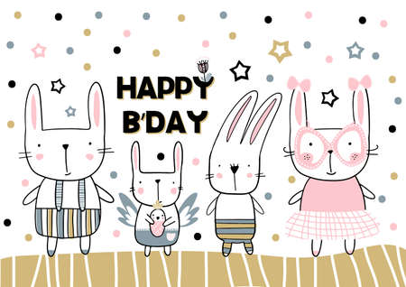 Happy Birthday card in handwritten childish style. Vector illustration 矢量图像