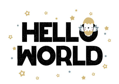 Card with lettering Hello World with little chick. Vector illustration in handwritten style