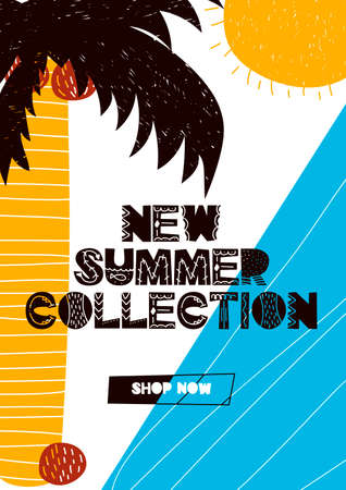 Card with lettering new summer collection in scandinavian style. Vector illustration