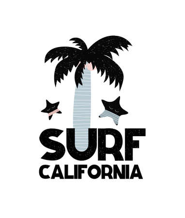 Card with lettering Surf California in Scandinavian style. Vector illustration