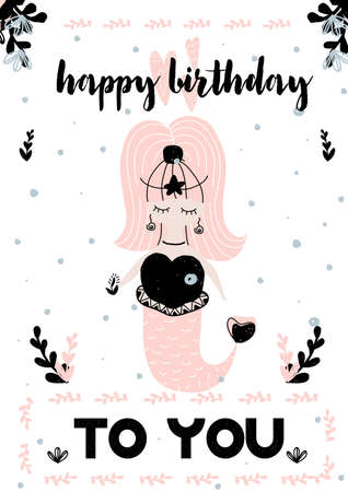 Card with calligraphy lettering happy birthday and girl mermaid. Vector illustration in scandinavian style isolated on pettern background. Can be used as card, postcard, gift, poster, banner, invitation