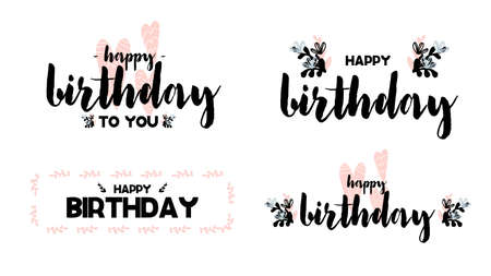 Collection Cards with calligraphy lettering happy birthday. Vector illustration in scandinavian style