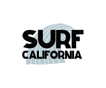 Card with lettering Surf California and wave in scandinavian style. Vector illustration isolated on white background. Can be used as card, postcard, poster, banner, flyer, t-shirt print
