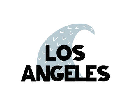 Card with lettering Los Angeles and wave in scandinavian style. Vector illustration isolated on white background. Can be used as card, postcard, poster, banner, flyer, t-shirt print
