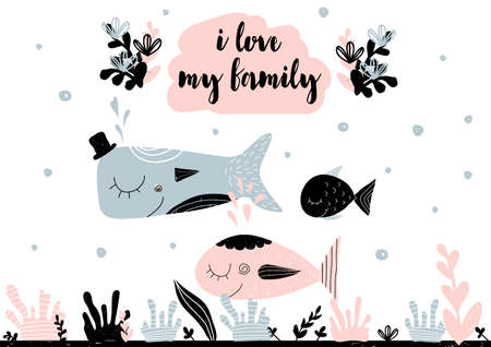 Card with calligraphy lettering i love my family and smiling family of fishes. Vector illustration in scandinavian style with seaweed, corals, water bubbles on background. Can be used as poster, card