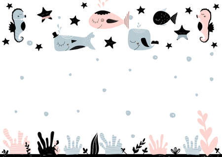 Card with empty space for lettering with underwater creatures, stars and sea bottom. Vector illustration in scandinavian style. Can be used as poster, banner, notebook, scrapbook paper Illustration