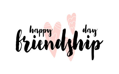 Card with calligraphy lettering Happy friendship day with hearts in scandinavian style. Vector illustration isolated on white background. Can be used as card, postcard, poster, banner, brochure Illustration