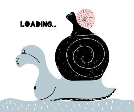 Card with lettering Loading in scandinavian style Illustration