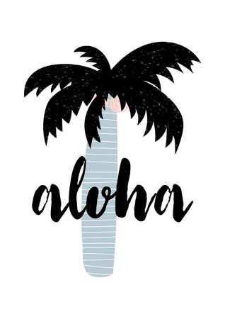 Summer apparel print design. Aloha lettering. Vector calligraphy illustration