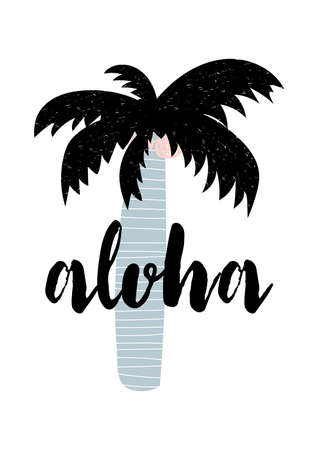Summer apparel print design. Aloha lettering. Vector calligraphy illustration