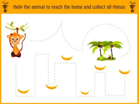 Cartoon illustration of education. Matching game for preschool kids trace the path of the monkey in the jungle and collect all the bananas. Education and games. Learn handwriting. Vector illustration