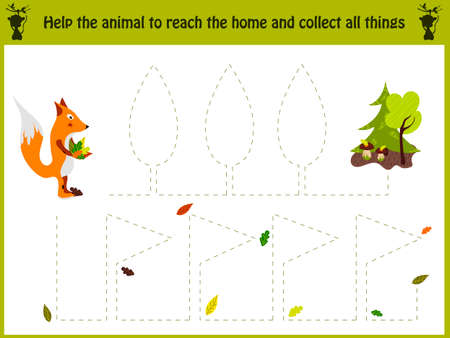 Cartoon illustration of education. Matching game for preschool kids trace the path of the Fox home in the woods. All pictures are isolated on white background. Education and games. Learn handwriting. Vettoriali