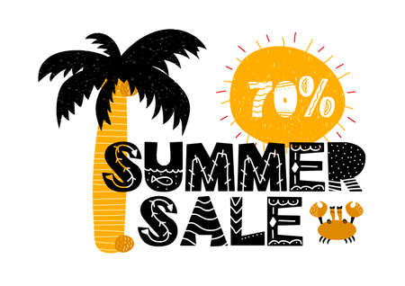 Advert card with lettering 70 summer sale in scanidnavian style. Vector illustration with palm isolated on white background. Can be used as invitation card, coupon, poster, brochure, concept, banner