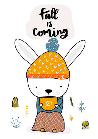 Cute rabbit sitting with a hot drink and covered with a blanket. Fall, autumn illustration. Vector illustration 矢量图像