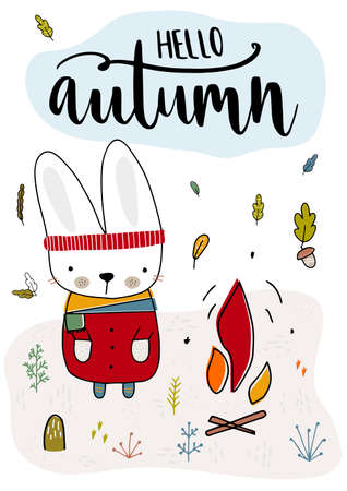 Cute rabbit is in fashionable clothes and is heated by the fire. Fall, autumn illustration. Vector illustration