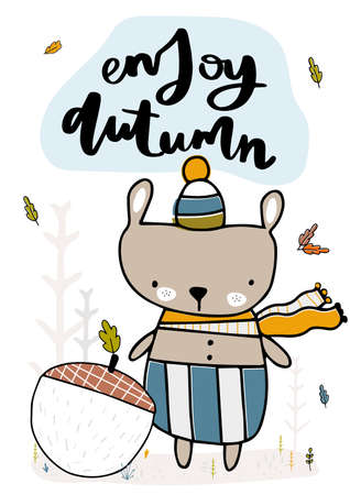 Cute little bear found a big acorn in a clearing. Fall, autumn illustration. Vector illustration 免版税图像