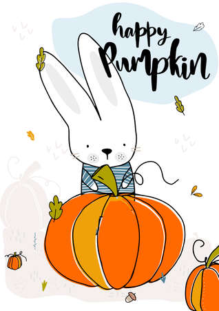 The rabbit found a big happy pumpkin. Fall, autumn illustration. Vector illustration 免版税图像