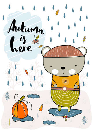 Bear standing in the rain in a puddle. Fall, autumn illustration. Vector illustration