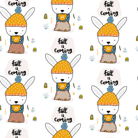 Bunny sitting and drinking a hot drink in the fall on the stump. Seamless autumn pattern. Vector illustration