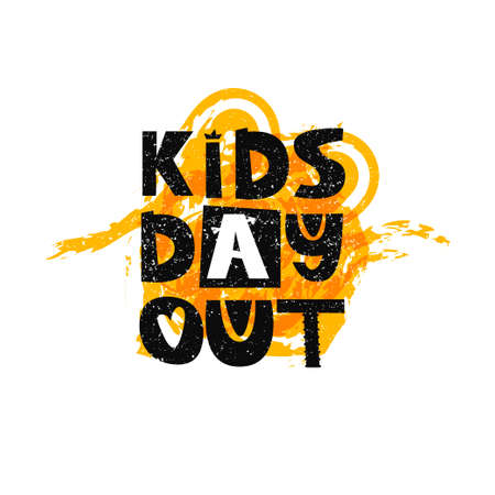 Kids day out lettering. Cute kids poster
