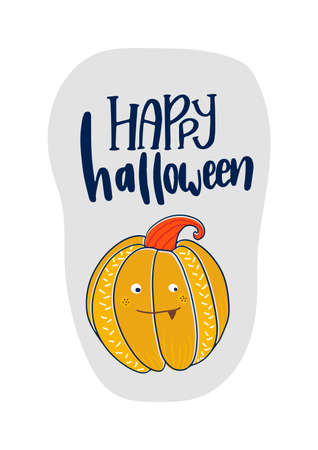 Happy Halloween Text card. Greeting cards with handwritten lettering and Halloween characters.Vector