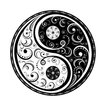 상징: Yin Yang Symbol vector illustration. EPS8, all parts closed, possibility to edit. 일러스트