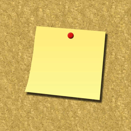 pin board: blank note attached with  pin on cork board
