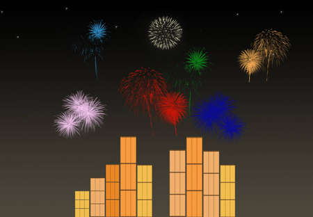 Colorful Fireworks over the City buildings photo