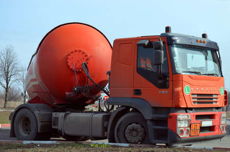 red gasoline tanker truck Stock Photo